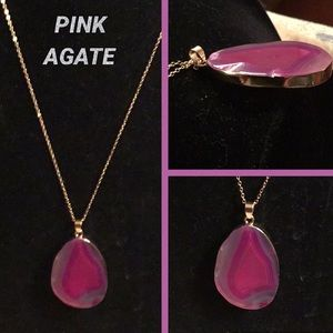 "Jewelry - PINK AGATE on a 20"" DELICATE GOLD TONE CHAIN"